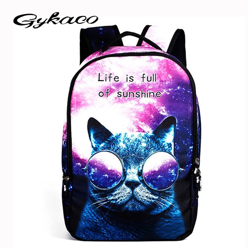 Cool Children 3d Animal Felt Backpack Men's Backpack Crazy Cat Dog Printing Bag For School Girls College Student Bagpack Mochila