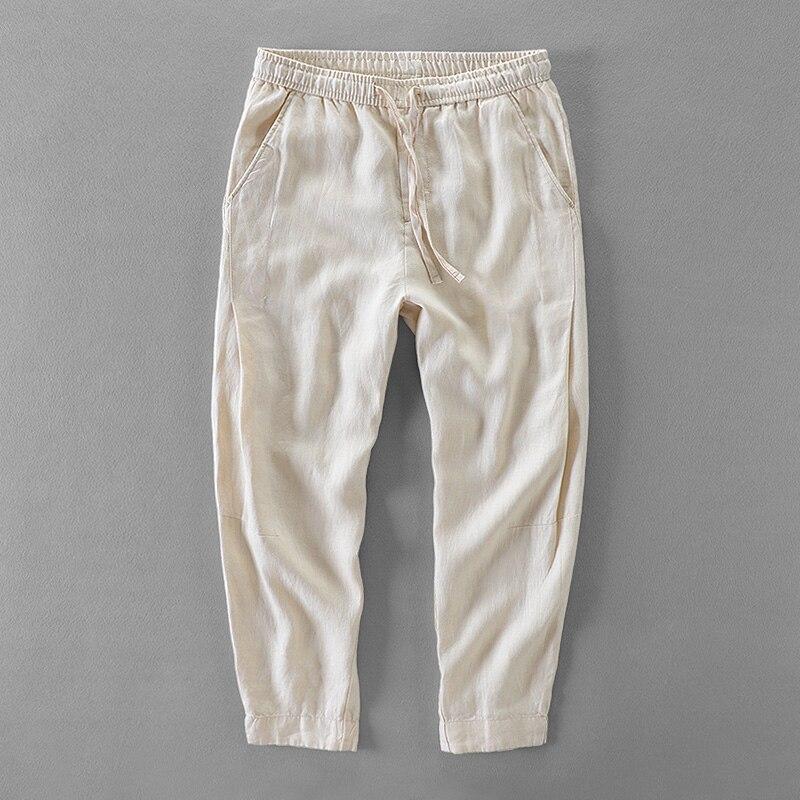 Весна Лето 100% лен Штаны мужские Брендовые брюки мужчины лодыжки длина Штаны мужские свободные с эластичной талией широкие брюки мужские 30 ... ...