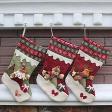 New Year Christmas Stockings Socks Plaid Santa Claus Candy Gift Bag Xmas Santa Claus Snowman Tree Hanging Ornament Decoration