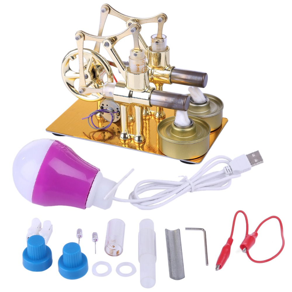 Gamma Stirling Engine Metal Double Cylinder Bulb External Combustion Heat Power Engine Model Physics Science Experiment