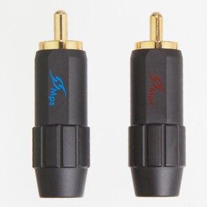 Image 3 - Hifi Mps Flat 8B Hifi Koper Rca Plug 24K Vergulde Rca Plug Lotus Hoofd Koper Rca Plug Voor 8mm Kabel