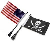 Universal Diamond Plate Rear Tail Luggage Rack Mount Steel Pole Skull Pirate Flag American Flag For