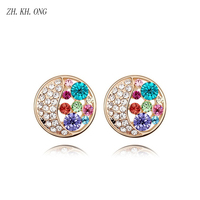 ZH KH ONG Luxury Korean Style Round Earring Embed Full Cubic Zirconia Stud Earrings For Women