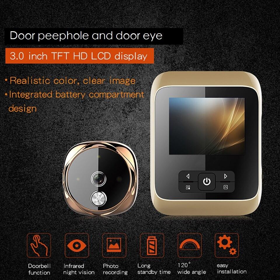 Judas sans fil porte caméra vidéo-oeil 3.0 pouces TFT LCD matériau en alliage de Zinc IR Vision nocturne 25 anneaux judas numérique max 32 GB