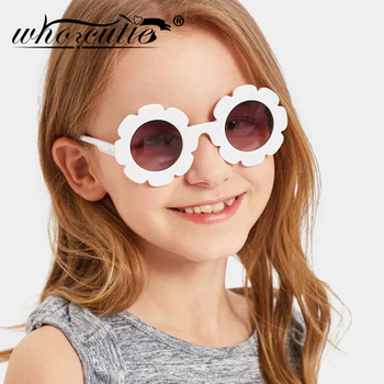 WHO CUTIE Round Flower kids sunglasses Brand Designer Girl Boy Goggles Cute Baby Sun glasses UV400 Lens Shades Children Toddler 1