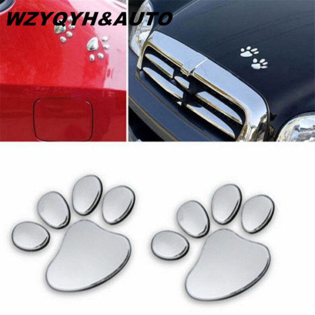 Wzyqyhauto 1 pair cool design paw car sticker 3d animal dog cat bear foot prints footprint