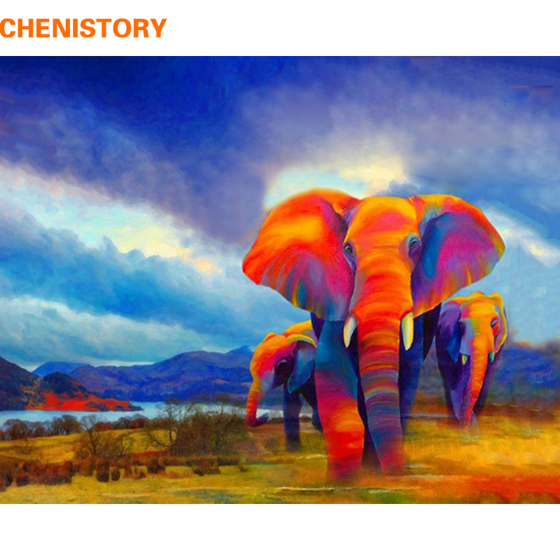 CHENISTORY Frameless DIY Painting By Numbers Colorful Elephant Kits Coloring By Numbers Unique Gift For Home Decor 40x50cm Arts|Painting & Calligraphy| |  - title=