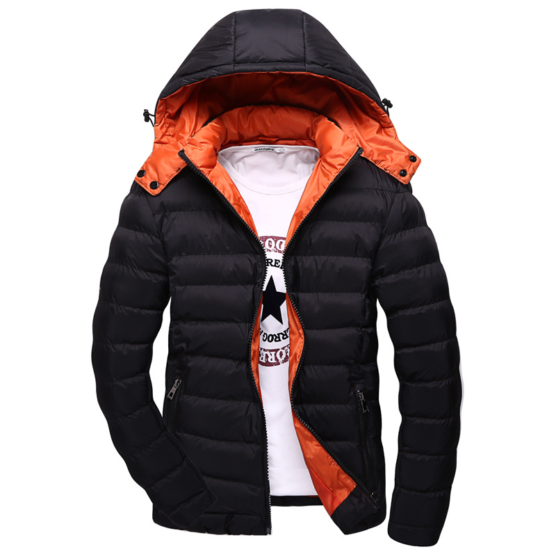ФОТО 4 Colors Plus Size M-5XL Keep Warm Men Winter Cotton-Padded Jacket Hooded Solid color Men's  Thiker Down Jackets