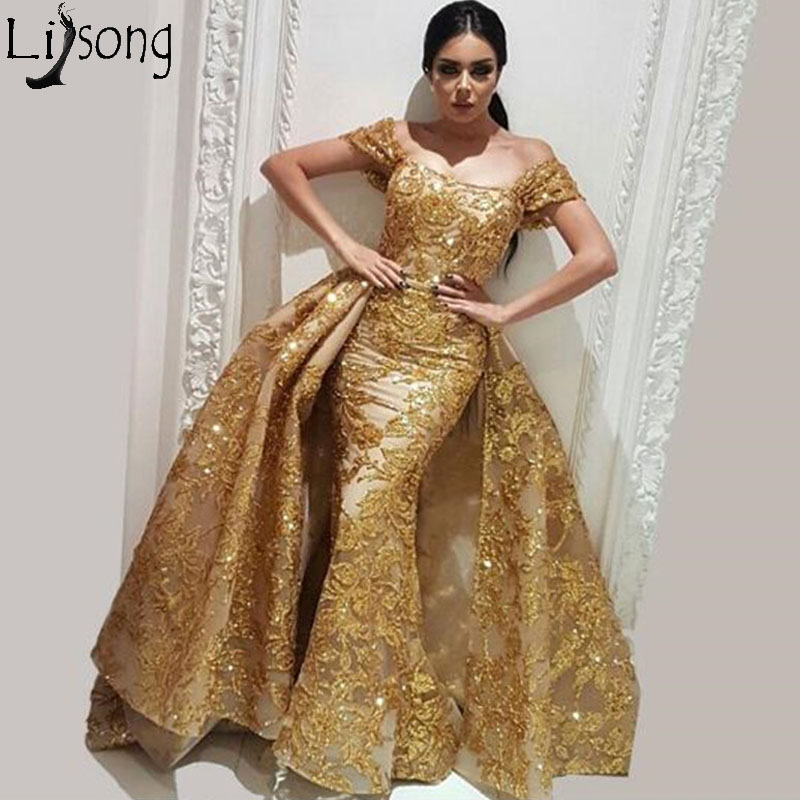 Sparkly Gold Overskirt Mermaid   Prom     Dresses   Off the shoulder Evening   Dress   with Detachable Train Organza Sequins Lace Party Gown