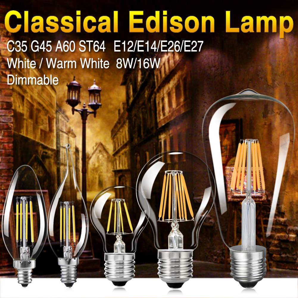LED Filament Bulb E14 C35 LED Bulb E27 G45 A60 ST64 Edison Light 110V 220V 4W 8W 12W 16W Antique Retro Vintage Glass Bulb Lamp