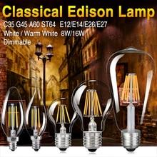 купить LED Filament Bulb E14 C35 LED Bulb E27 G45 A60 ST64 Edison Light 110V 220V 4W 8W 12W 16W Antique Retro Vintage Glass Bulb Lamp онлайн