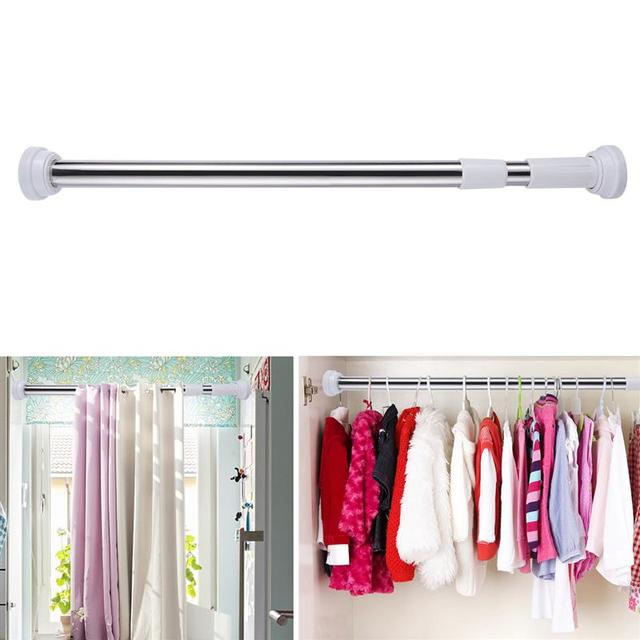 OUNONA Stainless Steel Bathroom Shower Curtain Rod Adjustable Curtain  Tension Rod Clothes Hanger Closet Organizer Storage
