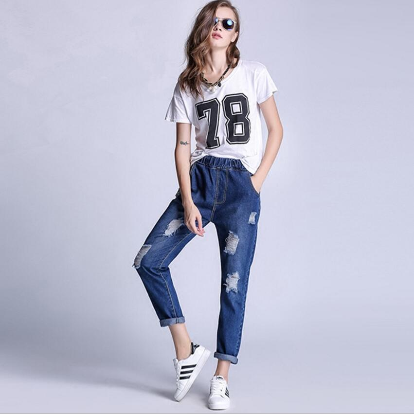 2017 new hot sale High Quality Hole feet pants large size jeans female trousers pencil pants