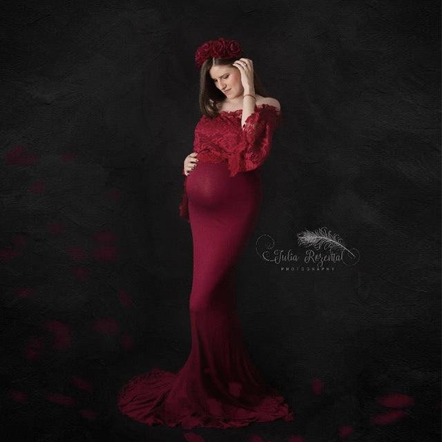 17e78b281c09 Maternidad fotografía Props vestidos de maternidad para sesión fotográfica  encaje largo vestido embarazo mujeres embarazadas ropa