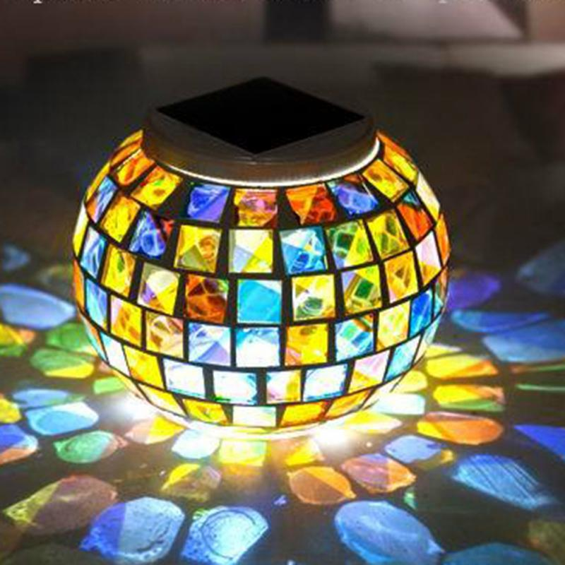 Solar Power Mosaic Glass Ball Garden Stake Color Changing Outdoor Lawn LED  Light(China (