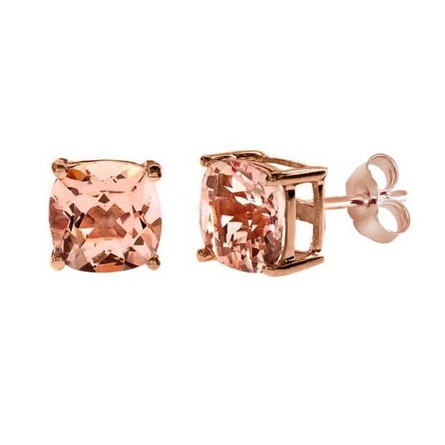 Us 614 8 14k Rose Gold Ct Cushion Cut Morganite Stud Earrings In Earrings From Jewelry Accessories On Aliexpress Com Alibaba Group