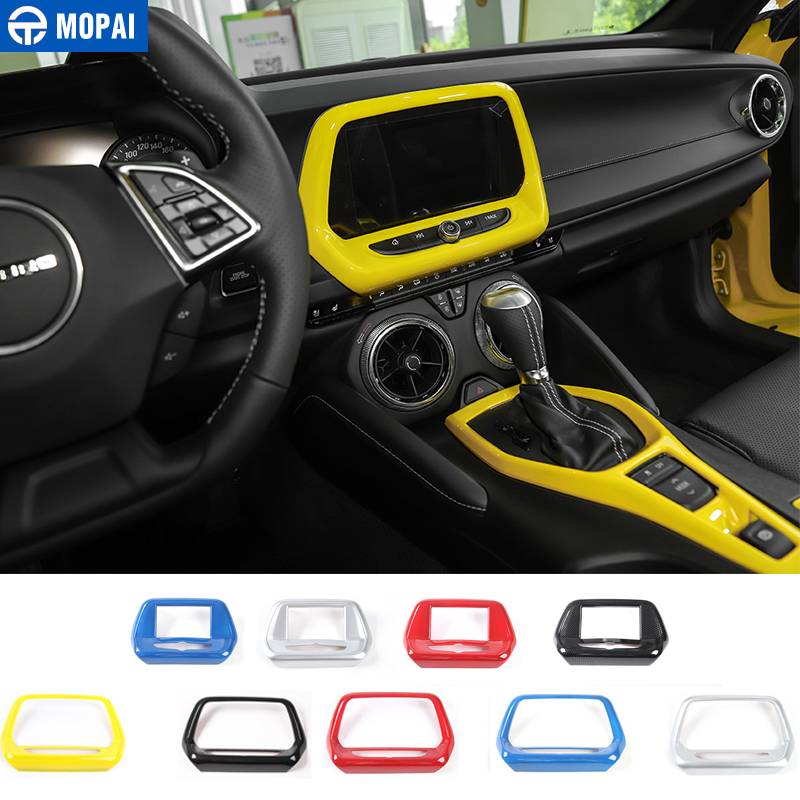 MOPAI Car Styling Interior Navigation Screen GPS Panel Frame Decoration Cover Sticker Accessories for Chevrolet Camaro 2017 Up console center gear shift shifter panel cover trim frame stickers car styling fit for chevrolet camaro 2017 interior accessories