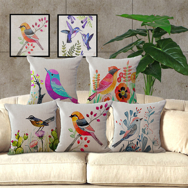Wholesale Price 1 Piece Famous Designer Hand Painting Bird Series Pillow  Cover Decorative Home Chair Throw