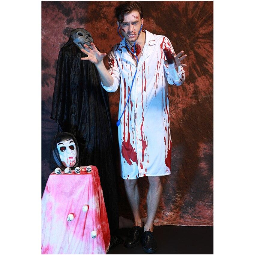 Nuevo Hombre de Poliéster Grim Médicos Disfraces con Sangre De Disfraces de Halloween Cosplay Traje de la Enfermera del Estilo del Occidente Venta Caliente H168151