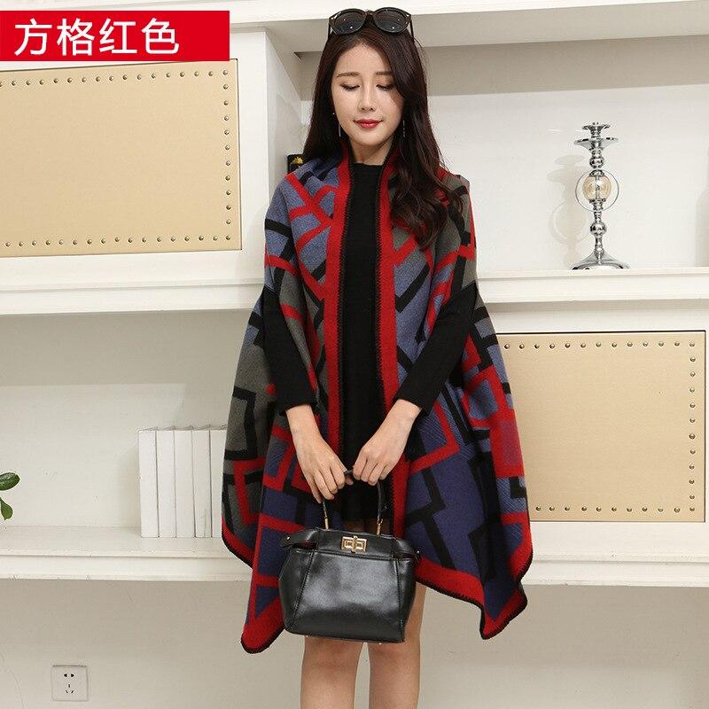 Новинка, роскошный брендовый женский зимний шарф, теплая шаль, женское Клетчатое одеяло, вязанное кашемировое пончо, накидки для женщин, echarpe - Цвет: Red square