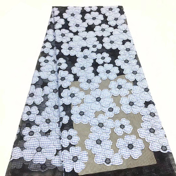 5 colors (5yards/pc) fashion French net lace fabric black African tulle lace appliqued with skyblue flowers for party dressFLZ72
