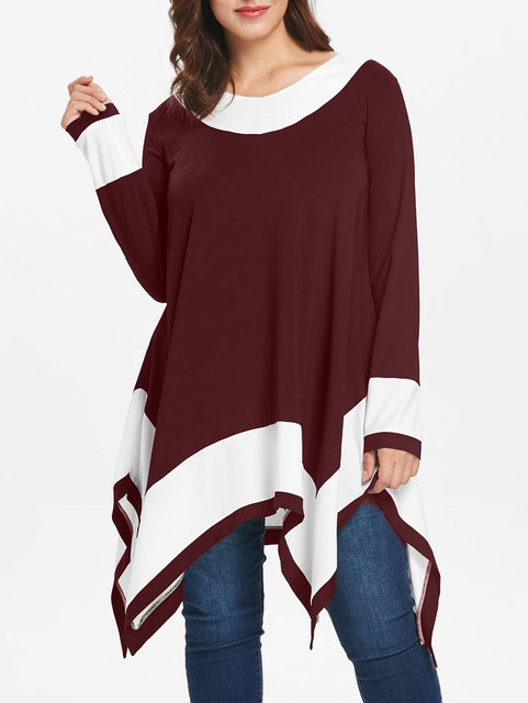 Plus Size Handkerchief T-Shirt Autumn Ladies Tops