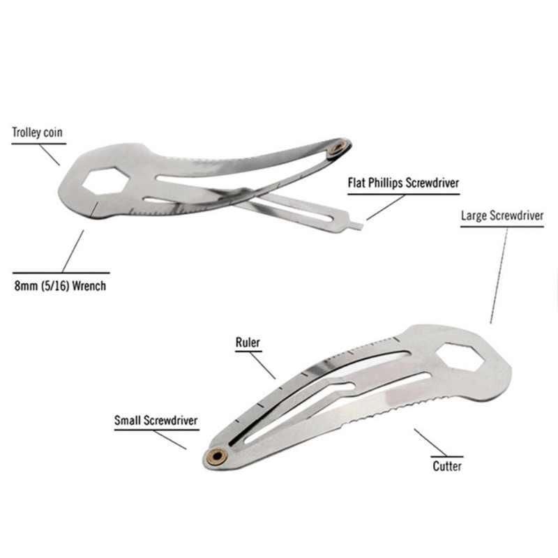新しいステンレス鋼多機能ヘアピンヘアクリップ定規カッター旅行アウトドアキャンプサバイバルユーティリティedcポケットツール