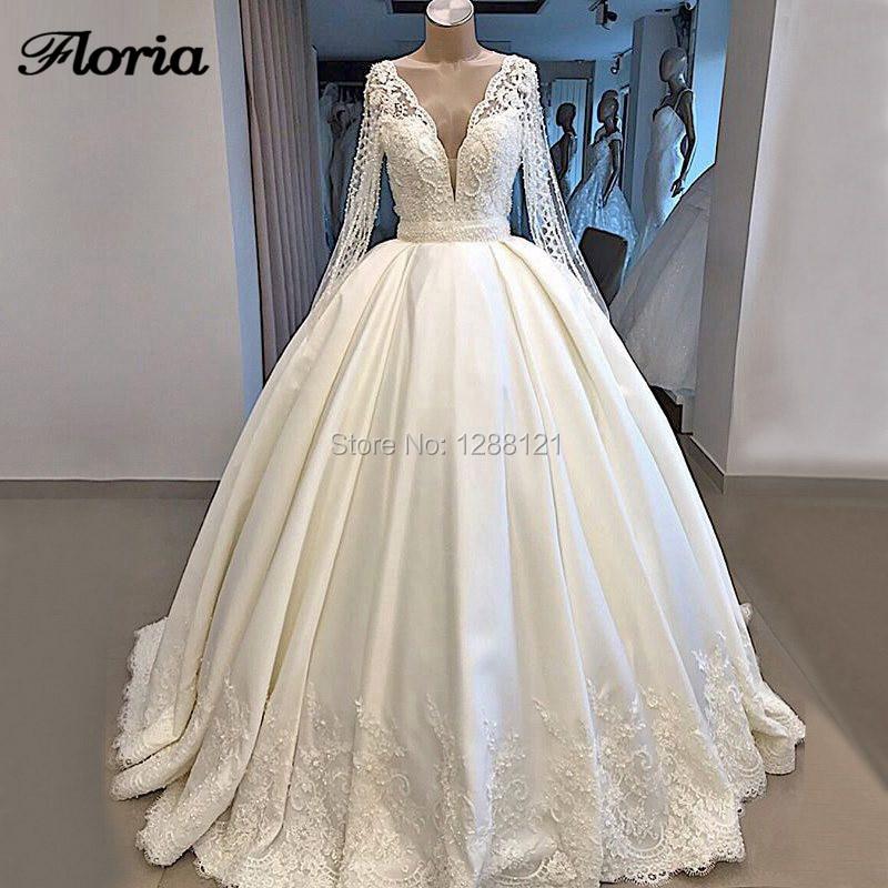 De luxo Vestidos de Casamento 2019 Robe De Dubai Mairee Lace Sheer Sexy Back V Pesados Pérolas Bola Vestidos de Noiva Vestidos de Casamento kaftans Novo