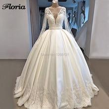Vestidos De novia De lujo Dubái, 2019, bata De Mairee, encaje transparente, espalda Sexy, V, perlas pesadas, vestidos para baile De boda, vestidos De boda, caftanes