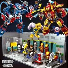 2019 Marvels Avengers Iron Man Spiderman VS Thanos Modular Lab With 6 Marvel Universe Superhero Figures Compatible Sermoido