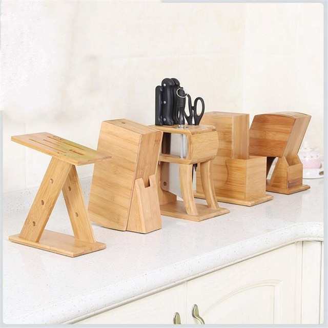 Bamboo Knife Holder Multifunctional Wood Knife Stand