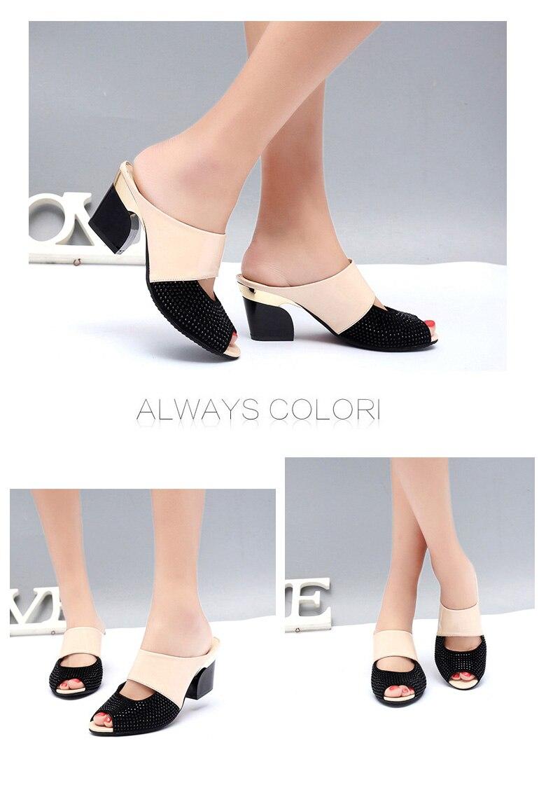 HTB17wRGjKSSBuNjy0Flq6zBpVXaX Women Sandals Square Heel 2019 Summer Shoes Woman Fashion Slides Cut-out Open Toe Slip On Mothers Sandals Female Bling Slippers