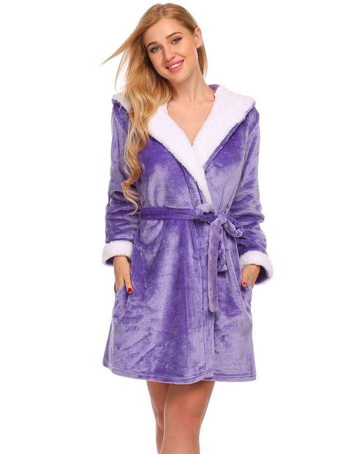 Ekouaer Womens Fleece Robe Sleepwear Long Sleeve Animal Hooded ... 3c56d6e6a