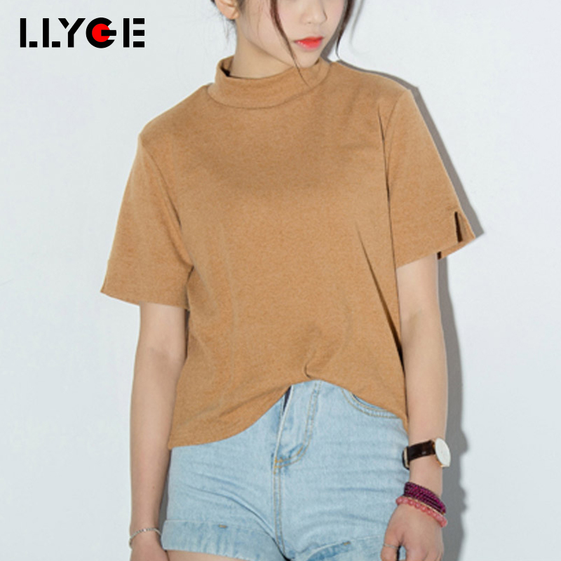 LLYGE Women Short Sleeve Turtleneck Solid Casual T-Shirts Korean Style 2018 Summer Female Tees Top Casual Womens Tshirt Clothes