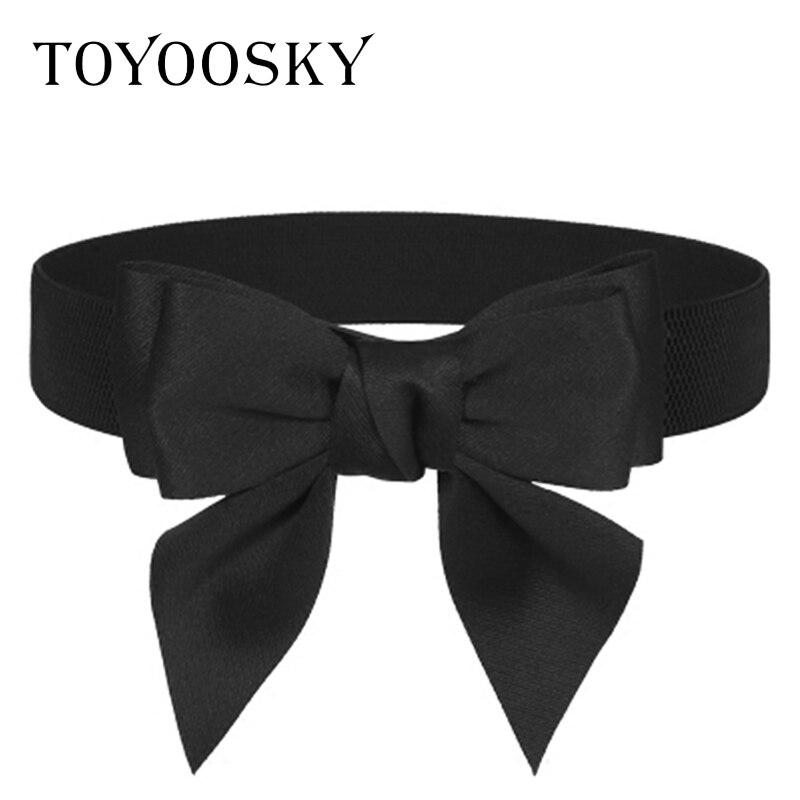 2018 New Arrival Luxury Women Wide Belt Bowknot Fabric Girdle Belt Skinny Belt For Women Kemer Cinto Feminino TOYOOSKY