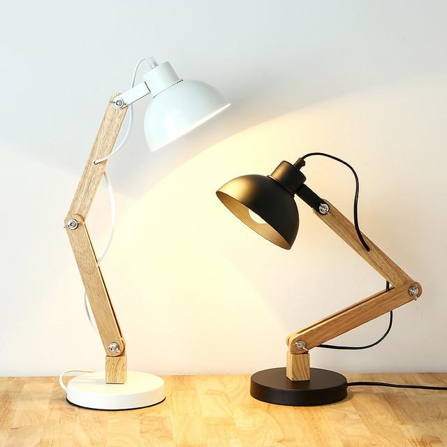 Nordic Desk Lamp Real Wood Desk Lamp Black White Creative Desk Light Can Be  Adjusted Free