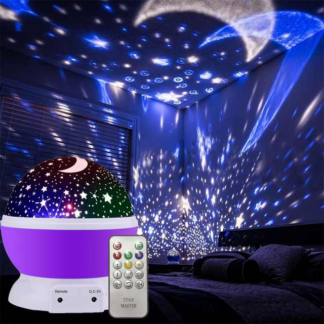 Star Night Light Remote Led Rotating Sky Projector Usb Cord Novelty Lighting Moon Kids Baby Nursery