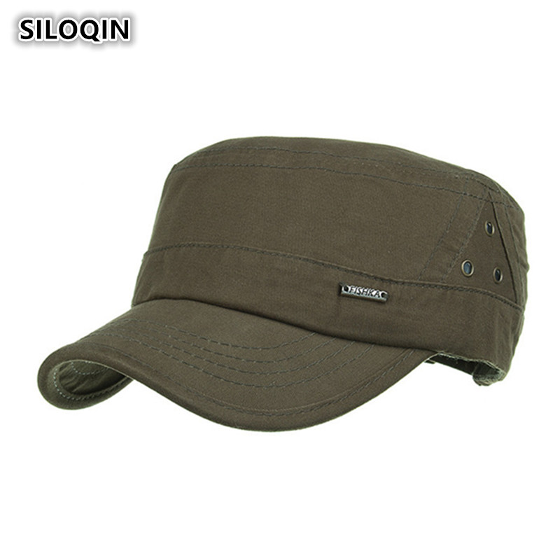 SILOQIN Men 39 s Flat Top Hat Simple Cotton Military Hats 3 Hole Metal Mark Male Bone Dad 39 s Hats Adjustable Size Brand Visor Cap in Men 39 s Military Hats from Apparel Accessories