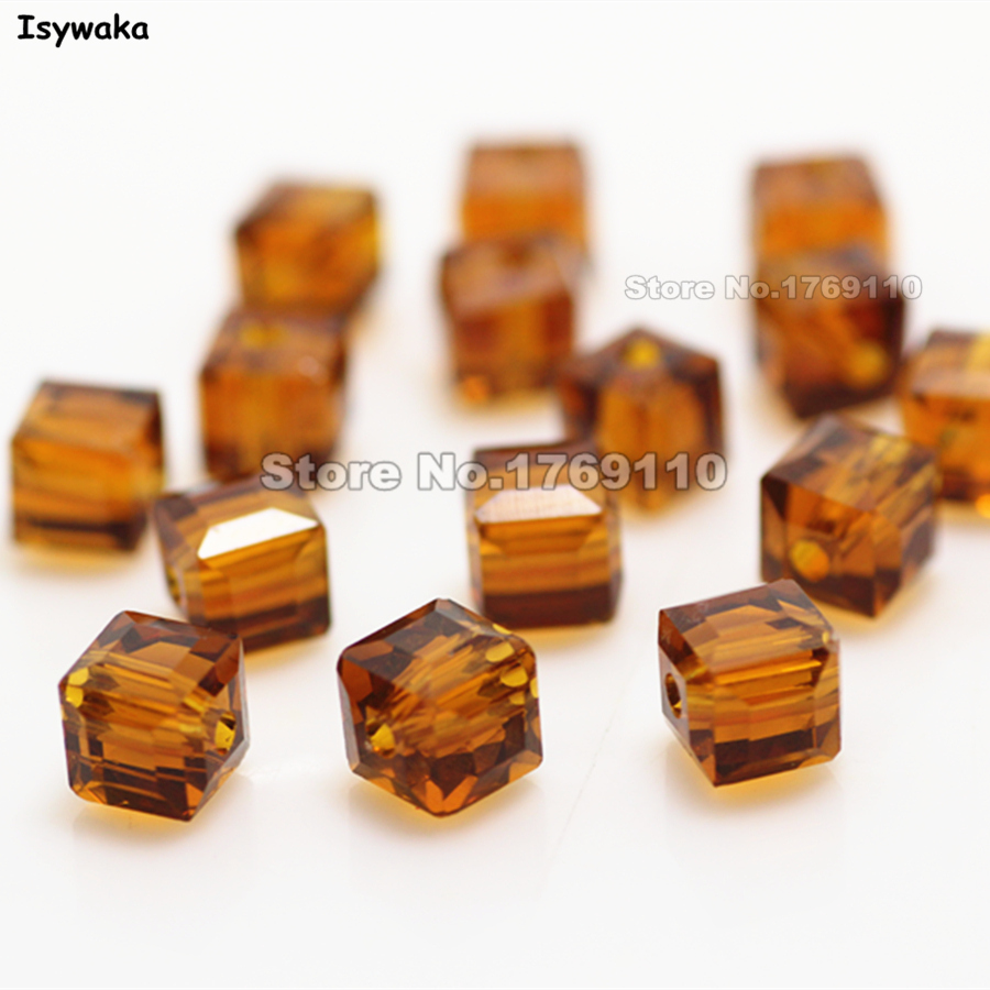 Isywaka 100pcs Deep Brown Color Square 6mm Austria Crystal Beads Charm Glass Beads Loose Spacer Bead for DIY Jewelry Making