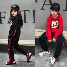 Детский свободный хлопковый костюм для танцевальных соревнований в стиле джаз, хип-хоп топы и штаны для девочек и мальчиков, одежда для сцены Одежда для танцев
