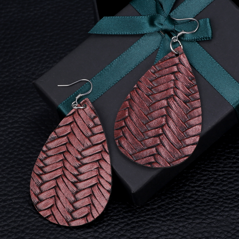 New Teardrop Leather Earrings Petal Drop Earrings Antique Lightweight S925 Carved Stainless Steel Earrings For Women Gifts 45