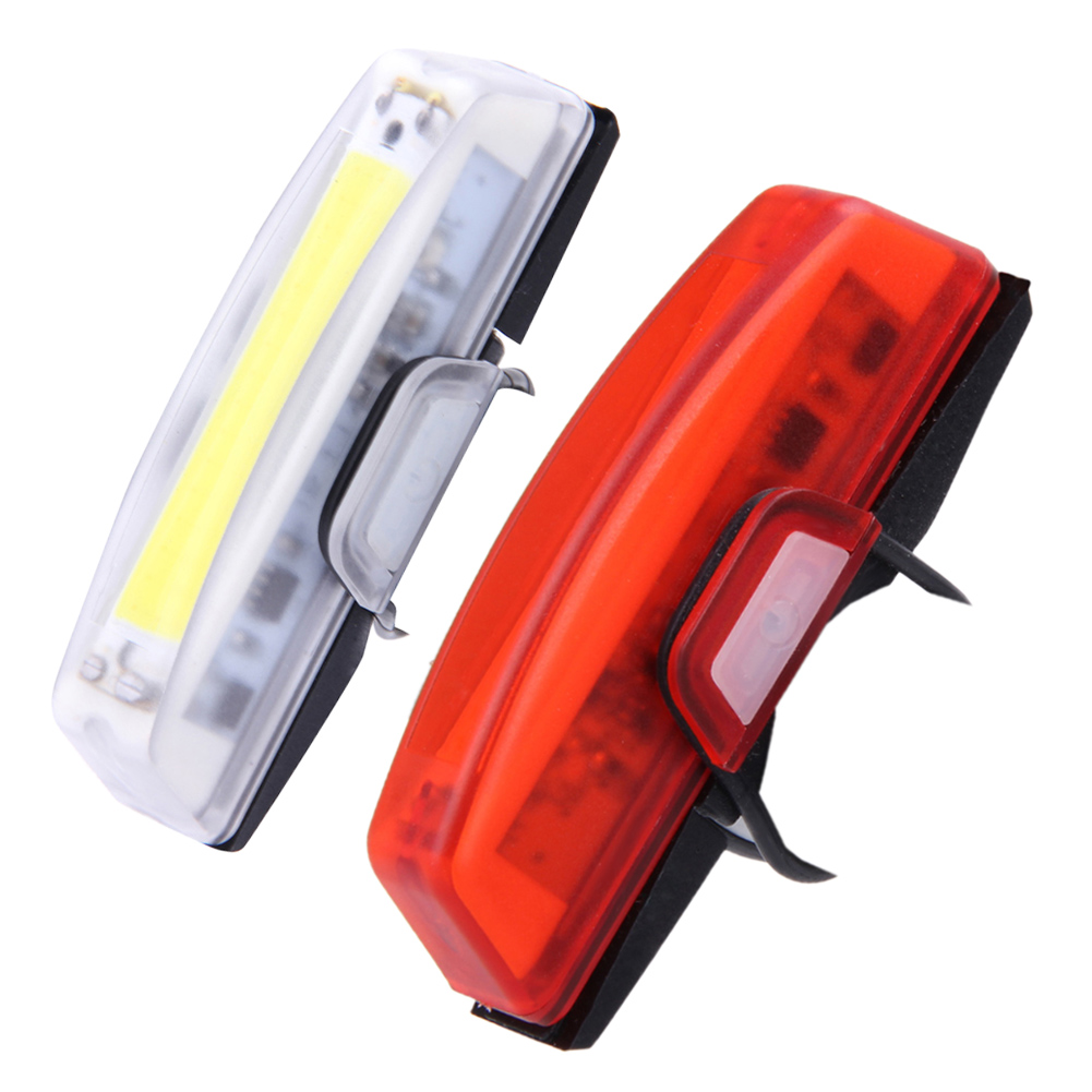 100 lumens USB Rechargeable Bicycle Bike Front Rear LED Tail Lights Waterproof 6 Modes COB Water Resistant Bicycle Lights usb rechargeable water resistant 0 5w