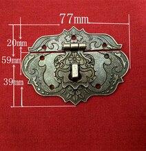 20 unids/lote 77*59mm de Bronce de Aleación de Zinc Caja Candado Hebilla Capturas Pestillos de Bloqueo Del Panel de Metal Artesanía Regalos De Madera Decoraciones de la caja