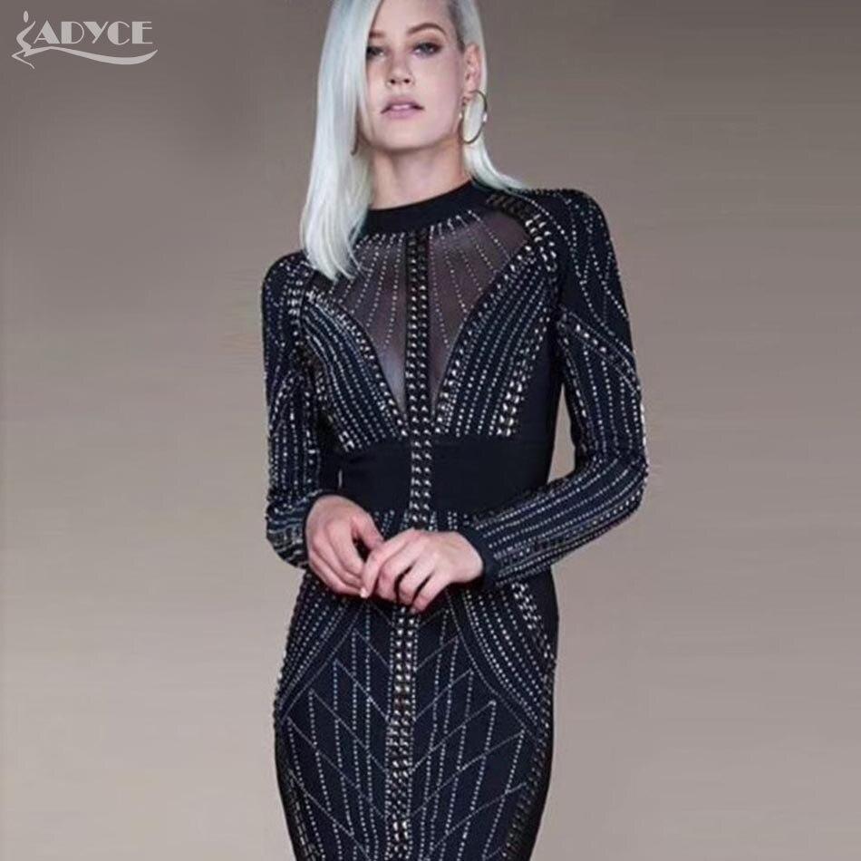 Adyce 2019 Высокое качество зима белый черный Beadings Бандажное платье Vestidos Сексуальные Длинные рукава Bodycon платья вечернее платье