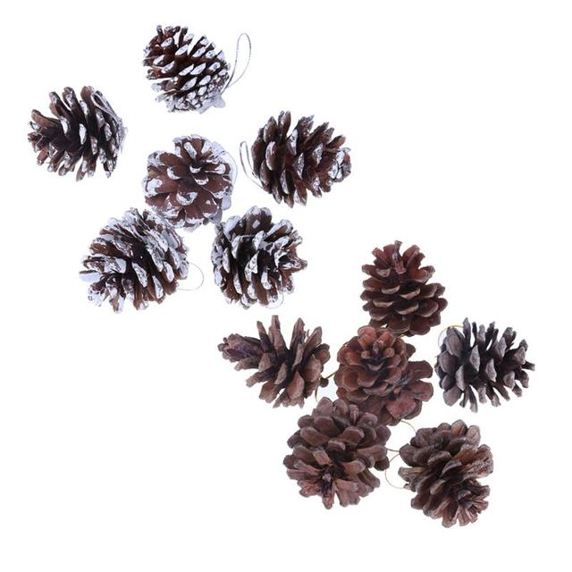 Christmas Tree Hanging Pine Cones With Strings Navidad Wood Pinecone Balls For Homes Office Party Decoration Ornament Crafts