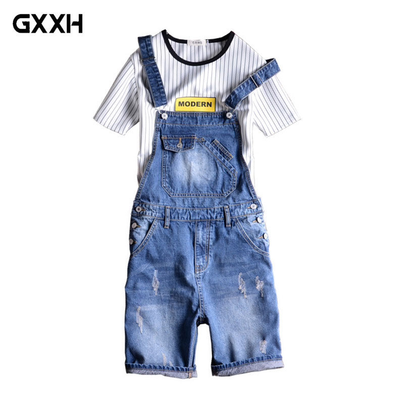 Brand 2019 New Designer Men s Shorts Jeans Pants Fashion Ripped Bib Overalls Jean Short Man