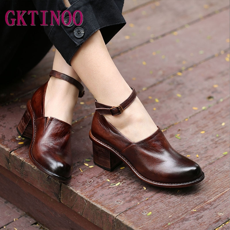 GKTINOO Genuine Leather Women Pumps 5.5CM High Heels 2019 Spring Women Ankle Strap Leather Shoes Retro Handmade Leather PumpsGKTINOO Genuine Leather Women Pumps 5.5CM High Heels 2019 Spring Women Ankle Strap Leather Shoes Retro Handmade Leather Pumps