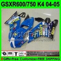 8 подарки + капота для SUZUKI rizla Blue GSXR 600 04 05 GSX R600 2004 2005 Q35375 GSX R600 GSXR600 K4 цвет синий, черный; большие размеры GSXR 600 обтекатель