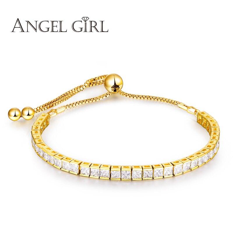 Prix pour Ange Fille Brillant AAA + Or Bracelet pour les Femmes Dames Cubique Zircon Bijoux En Cristal Cadeau manchette femme Bracelets & Bangles