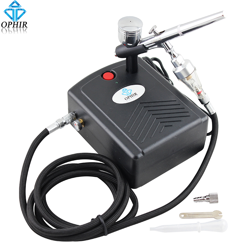 OPHIR Airbrush Kit with  Mini Air Compressor Air Filter for Temporary Tattoo Body Nail Paint#AC034+AC004A+AC011 ophir pro 2x dual action airbrush kit with air tank compressor for tanning body paint temporary tattoo spray gun  ac090 004a 074